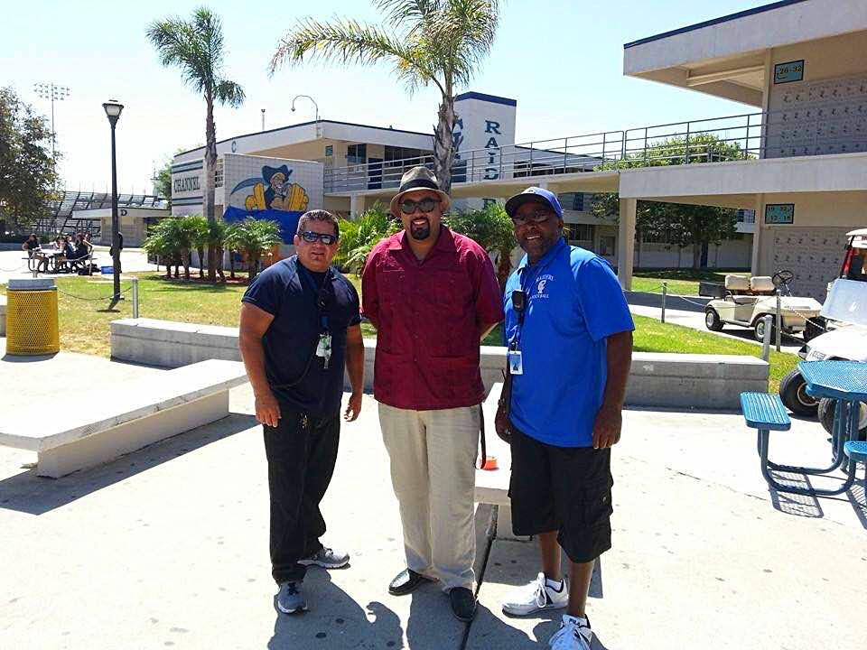 Mr. Antoine Latimer, right, with fellow supervisor Mr. Pete Rivas and paraeducator Mr. Fernando Calzada
