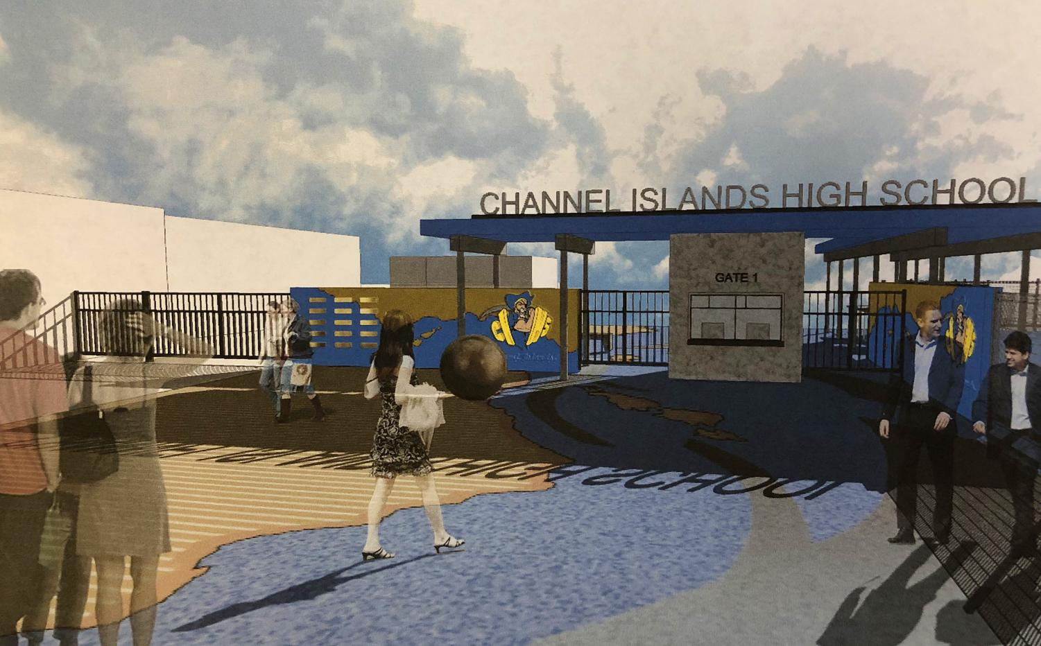 This is an artist's rendering of what the new entrance to Ken Benefield Stadium might look like.