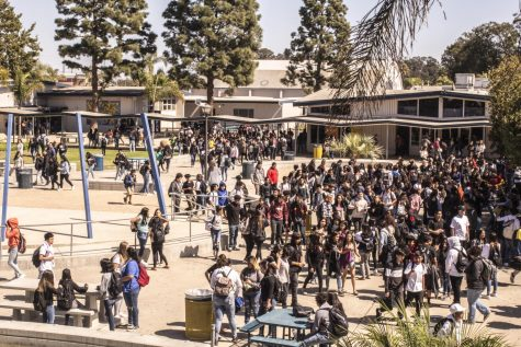 Hundreds of students gather in the quad during lunch.